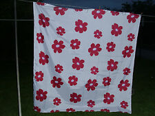 new shower curtain with large pink flowers and clear hooks for girl's room bath