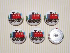 6 Red Steam Train Fabric Covered Buttons - 30mm