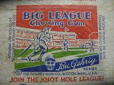 1934 Goudey Baseball Big League Chewing Gum Wrapper New York Yankees Lou Gehrig