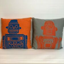 Land of Nod Set 2 Robot Throw Pillow Modern Orange Blue Kids Bed Play Room Lot