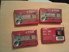Vintage Tdk D60 Superior Cassette Tape Blank - Lot of 4 Never Opened
