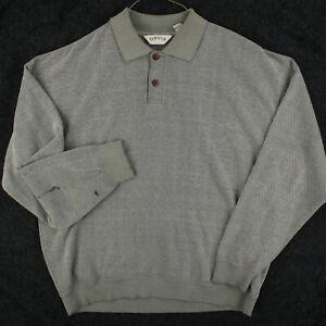 ORVIS Gray Thermal Pullover Long Sleeve Polo Sweatshirt Men's Reg XL