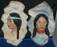Native American Indian Wall Figure Plaques Sittre Dated 1981 2 Total Vintage