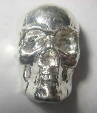 3D SKULL - HAND POURED - 2 oz .999 Pure Silver 3D Bar - The Coin Shoppe TCS