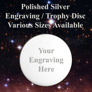 ROUND SILVER TROPHY PLATE / DISC, IDEAL FOR NAME PLAQUES / SPORTS AWARD & LABELS