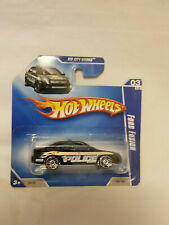 2010 Hot Wheels City Works Ford Fusion Police Car Black 1:64 Scale Short Card