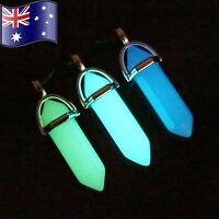 GLOW in the DARK BLUE, AQUA, GREEN Opalite Crystal Quartz Point Pendant Necklace