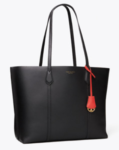 Tory Burch Perry Tote Bag Triple Compartment Black Authentic New