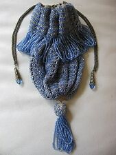Antique Art Deco Ice Blue Tan Knit Crochet Drawstring Ball Tassel Flapper Purse