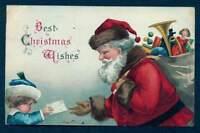 CHRISTMAS EMB POSTCARD SANTA WITH BAG OF TOYS LITTLE GIRL 1907