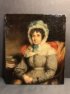 An Antique Oil Painting On Copper Of A Lady/ Early 19 Century