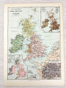 1894 Antique Map of The British Isles Great Britain Language Population Density