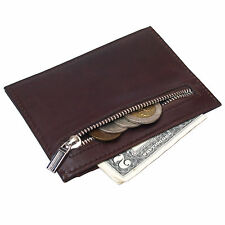 Mens Genuine Leather Wallets Slim Credit Card Zipper Coin Purse Vintage Wallet