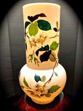 Large VICTORIAN OPALINE Vase CLAMBROTH BRISTOL GLASS Raised Enamel Finish SIGNED