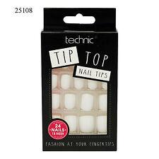 Technic Tip Top False Fake Nail Tips Glue | 24 Nails 12 Sizes Various Shades White (25108)