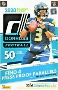 2020 Donruss Football NFL Trading Cards Sealed Hanger Box 50 Cards