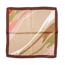 Kiton Napoli Gold-Green-Pink Abstract Print Silk Pocket Square