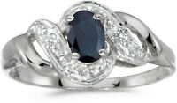 10k White Gold Oval Sapphire And Diamond Swirl Ring (CM-RM1190W-09)