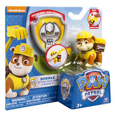Paw Patrol - Rubble Action Pack Pup and Badge - *BRAND NEW*