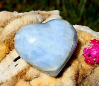 Blue Calcite Polished Large Heart - Natural Crystal Healing Chakra Reiki 530g