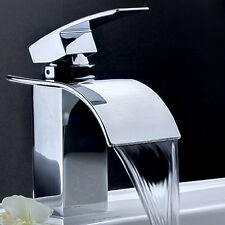 Free ship Square Modern Waterfall Single Hole Bathroom Sink Faucet Tap Chrome