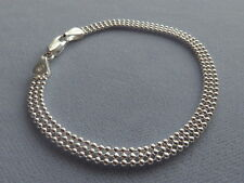 """NEW- STERLING SILVER- 8""""- 3 ROW BEAD BRACELET -POLISHED SHIMMERY- ITALY 925"""
