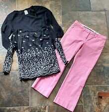 Women's Clothing 3p Lot The Limited Pink Capri Sz 0 Pants Black Tops Petite Apostrophe S 6 8 Teen
