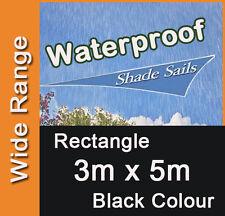 Waterproof Shade Sail Black Rectangle 3x5m, 3m x 5m, 3 by 5m, 3 x 5m, 3mx5m, 3x5
