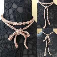 Rhinestone Wrap Necklace Lace Vintage Style Wedding Crochet Tan Nude Pink N5