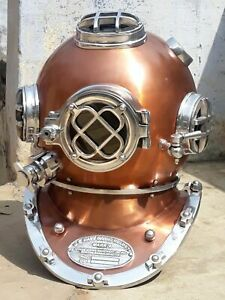 "DIVERS HELMET 18"" VINTAGE COLLECTIBLE SEA NAVY MARK V ANTIQUE U.S REPLICA DEEP"