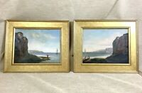 1871 Pair of Antique Framed Oil Paintings French Dieppe France Sea Landscape