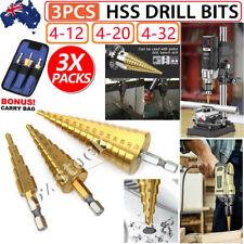 Large 3pc HSS Steel Step Cone Drill Bits Titanium Bit Set Hole Cutter 4-12/20/32