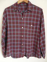 Vtg 50s 60s Blue Green Red Plaid Distressed Loop Collar Rockabilly Rayon Shirt L
