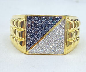 1.00 ct NATURAL DIAMOND mens pinky ring SOLID 18k yellow GOLD (VIDEO)