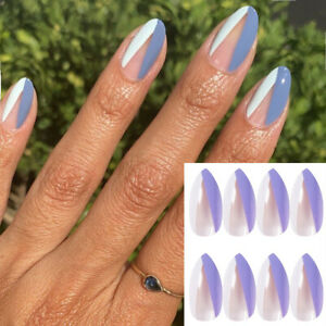48Pcs Fake Nails Short Square Ballerina French Press On Glue Gel Nails Art Tips.