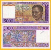 Madagascar 5000 Francs p-78b 1995 UNC Banknote