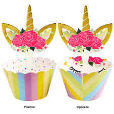 48×Unicorn Cupcake Wrappers Cake Topper Picks Kids Birthday 24wraps+24topper Set