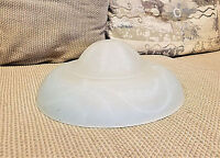 Vintage Glass Ceiling Light Shade Frosted Embossed Heavy Round Cover Art Deco