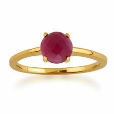 Solitaire Ruby Not Enhanced Yellow Gold Fine Rings