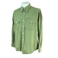 Orvis Men's Trout Bum Vented Long Sleeve Roll Up Cuff Green Check Shirt Medium