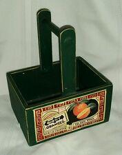 VINTAGE LOOK ORANGE WOODEN ORANGE CRATE BOX WOOD GREEN W/ HANDLE CARRYING BASKET