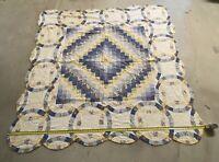 "Vintage Handmade Quilt Square Circle Shape Pattern Patchwork 78""x78"""