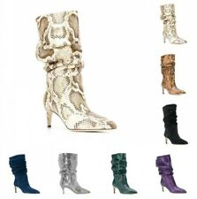 New Women's 6CM Heel Pointed Toe Snakeskin Pattern Slouch Mid Calf Boots 34/43 L