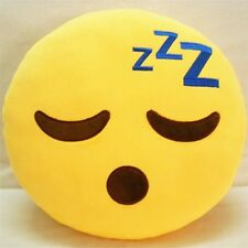 "USA SELLER Emoji Pillow 12"" Inch  Yellow Smiley 30cm Emoticon (Sleeping) Plush"