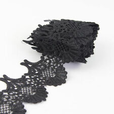 3 Yards Polyester Black Lace Applique Trims Ribbon Sewing Craft Embroidered DIY