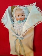 """Vintage 15"""" Seymour Mann Collectible Porcelain Baby Doll With Blanket - 1986"""