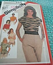 Vntage 1982 Simplicity 5445 PULLOVER TOPS (3 versions) Sz 8 Uncut Sewing Pattern