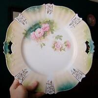 LOVELY R.S. PRUSSIA PINK FLORAL TWO HANDLED CHARGER / CAKE PLATE