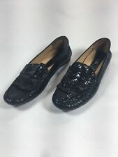 VANELI Women's Sz 9 A Leather Black Slip On Loafer Animal Print