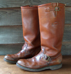 Vintage MENS TALL CHIPPEWA BROWN LEATHER ENGINEER MOTORCYCLE BOOTS Size 13 D